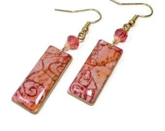 Rose Peach Dangle Earrings- polymer clay jewelry- Gold Leaf earrings- Polymer Clay Earrings- Ready to Ship- Swarovski Crystals