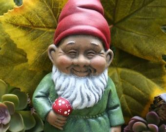 Black Gnome Holding a Mushroom - Homie The Gnomie - Garden Decor Art