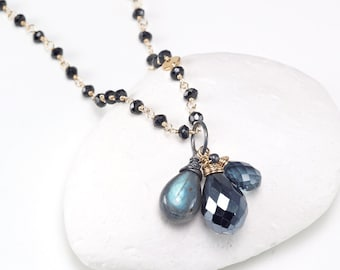 Mystic Spinel, London Blue Topaz, Labradorite, Black Spinel chain, 14k gold filled necklace, layering necklace, Gemstone necklace