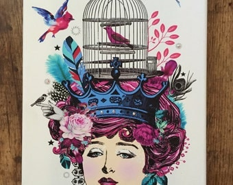 "Free Shipping ""Rosa"" Head Case Art collage canvas print pink/birdcage/roses/vintage/feathers"