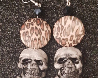 Skull, skull earrings, Leopard, Leopard print, Rockabilly, Pinup, Gifts for her