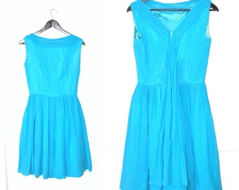 1950s blue chiffon dress 50s vintage NEW LOOK full skirt PARTY dress turquoise 1950s dress small