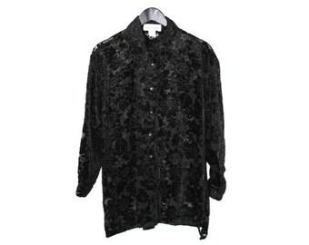 black burnout VELVET blouse 80s vintage NEW WAVE goth black sunflower velvet boho blouse os