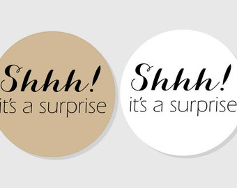 Shhh! it's a suprise Stickers - Kraft & white matte - assorted sizes - 1.5 inch - 2 inch - 2.5 inch - 3 inch - Crafts - Gifts - Presents