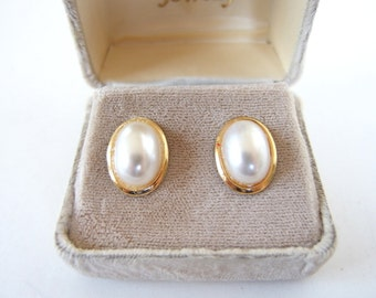 Vintage Earrings - Napier Faux Pearl Cabochon Pierced Earrings