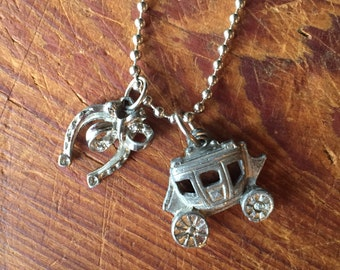 Charms on Chain Vintage Cowboy or Western Charms on Base Metal Ball Chain Reclaimed Upcycled, Gifts for Her, Gift for Him