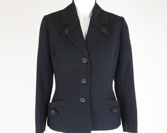 60s Hardy Amies Fine Black Wool Blazer Jacket with Signature Lining S