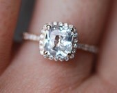 White sapphire engagement ring 14k rose gold diamond ring 1.73ct radiant cut cushion sapphire