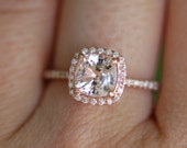 Ice Peach Sapphire Ring 14k Rose Gold Diamond Engagement Ring 1.44ct Square Cushion Ice Peach sapphire