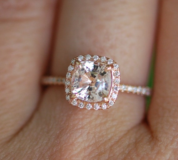 Ice Peach Sapphire Ring 14k Rose Gold Diamond by EidelPrecious