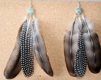 FEATHER Earrings -- Bird, Native American, Southwest - Style 40 - Triple Feather