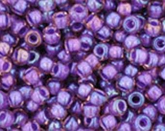 11/0 Rainbow Rosaline Opaque Purple Lined Toho Glass Seed Beads 2.5 inch tube 8 grams TR-11-928