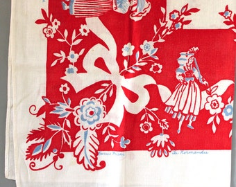 French vintage folk art table cloth, made in France. Barrie Hilson design.