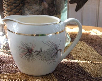 Vintage Hand Painted China Pitcher pinecones