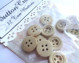 12 Tan VINTAGE 4 Hole Buttons