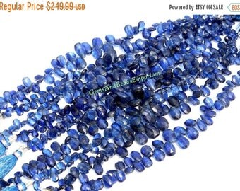 55% OFF SALE 7.5 Inches - Rare Finest Quality Natural Deep Inky Blue Kyanite Faceted Pear Briolettes Size 6x4 - 10x6mm - Gemstone Briolette