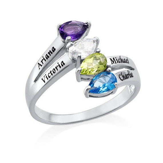 4 stone mothers ring birthstone ring engraved by. Black Bedroom Furniture Sets. Home Design Ideas