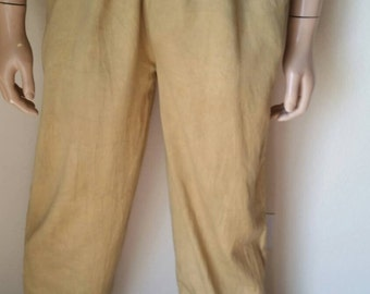 Yoga pants Mens Organic cotton gold Drawstring  L grown in USA Hermans Eco hand dyed
