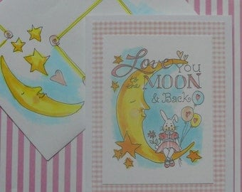 Mail Art Love You To The Moon Card Set