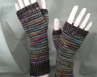 Fingerless Mitts Arm Warmers Stripes Merino Gloves Black Gloves