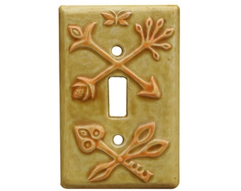 Crest Single Toggle Ceramic Light Switch Cover in Apricot Gold Glaze