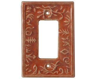 Ceramic Decora/Rocker/GFI Light Switch & Outlet Plate- Whimsical Design in orange lavender glaze