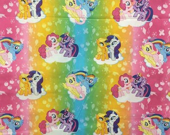 My Little Pony Fabric By Yard, Quarter Yard, Fat Quarter MLP Fabric Rainbow Fabric Pinkie Dash Fabric Cotton Quilting Fabric t5/16