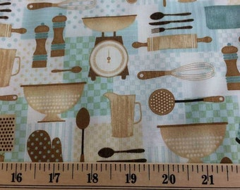 Kitchen Fabric with Cooking Utensils Fabric By Yard, Quarter Yard, Fat Quarter Fabric Aqua Brown Cream Apron Cotton Quilting Fabric w8/14