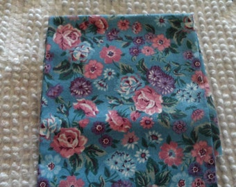 Vintage Cotton Quilt Fabric Pink Blue Lavender on Blue Background