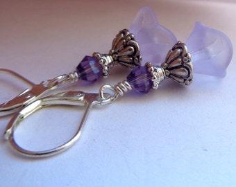 Lilac Earrings,Frosted Lilac Flower Earrings, Flower Earrings, Purple Earrings
