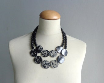 Black gray statement necklace double strand