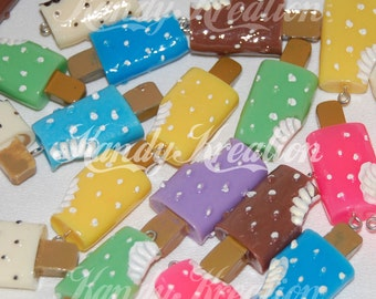 8 Ice Cream popsicle Pendant Charms for Kandi Bubblegum Necklace Beads Gumball mixed colors fun treats kawaii food foodies