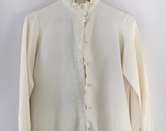 Vintage Lace Button Up Blouse Cream