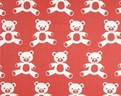 Red Teddy Bear Valance - Premier Prints Teddy Twill Coral/White  - Coral Red Nursery Valance