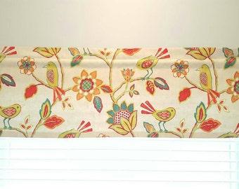 Bird Floral Valance -  Richloom Cran Brook Fiesta - Colors include red, orange, magenta, green, teal and natural.