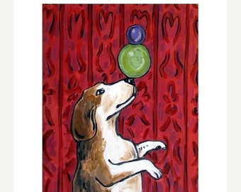ON SALE Beagle Balancing Act Dog Art Print  JSCHMETZ modern Folk  Pop art gift