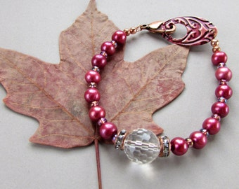 Cranberry Sauce - Bracelet of Rose Freshwater Pearls, Rock Crystal, Rhinestones, Czech Glass, Copper - Boho Gypsy Cottage Chic