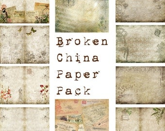 Digital Vintage Journal Page Kit - Broken China - Perfect for journals, cards, mixed media, scrapbooking (10 digital pages)