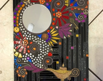 Stained Glass Mosaic Genie Mirror wall hanging black multi media