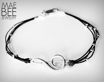 Treble Clef bracelet sterling treble music lover bracelet sterling musical note bracelet