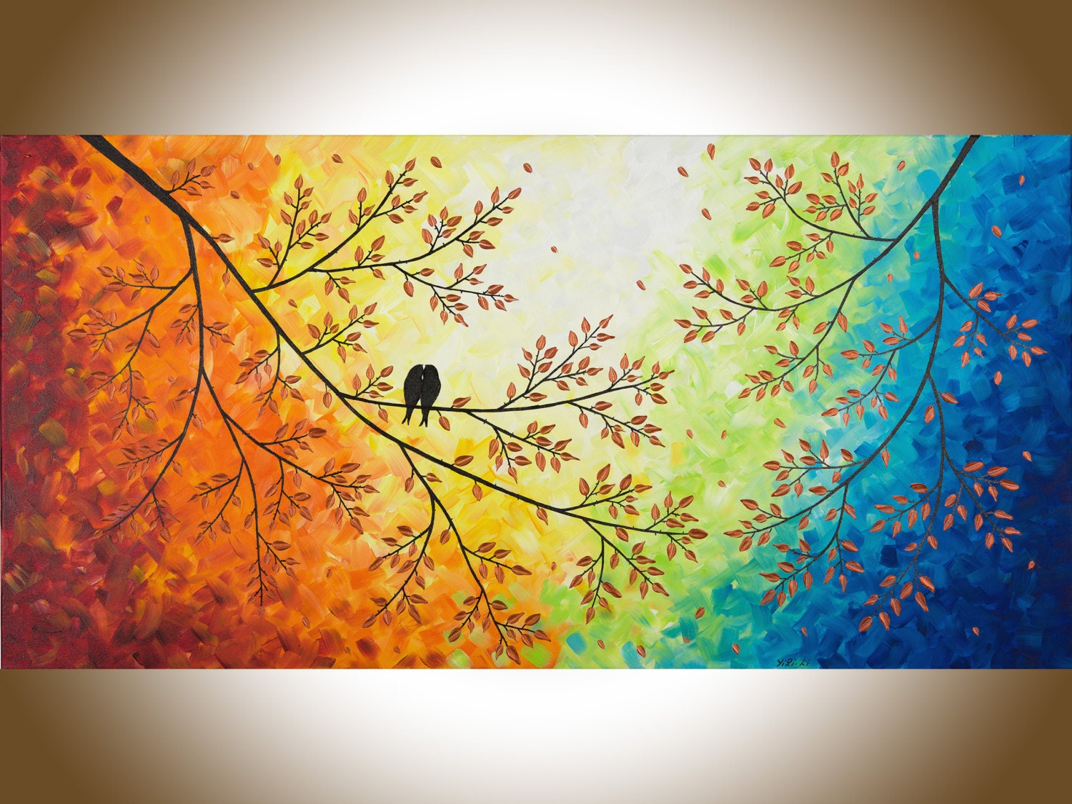Large wall art Colorful love birds art red yellow orange blue