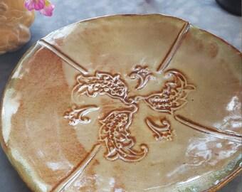 Handmade Ceramic Serving Dish, Dessert Plate, Appetizer Platter, Paisley Impressed Serving Dish