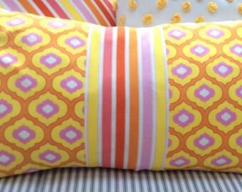 BOHO /French CoTTaGe Down Pillow/12x20/Lumbar/Decorative Pillow/stripe/yellow/Throw Pillow