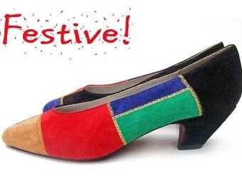 Unworn Vintage 80s Shoes Suede Colorblock Pumps Undershot Chiseled Cuban Heels Colorful Patchwork Pumps NOS size 8B Flexible Sole Shoes