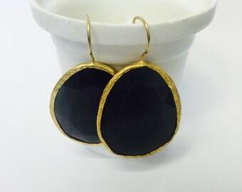 Black Quartz Dangle Earrings Gemstone Gold Plated Drop Earrings
