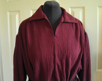 Poets shirt, Renaissance shirt, pioneer shirt, burgandy color gauze  adult sizes