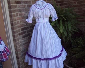 Prairie Dress--plan a Prairie Party  White with lavender stripes,Prairie Party Dress, pioneer dress, Civil war dress,
