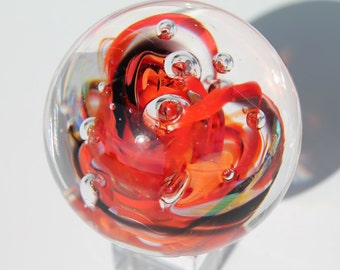 Large Glass Marble   - Marble Collector Gift - Hand Blown - With glass cube stand  [My stock number is (rbog-19.]