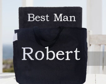 Wedding Party Towel and Tote Gift Set! Best Man, Maid of Honor Towel and Tote Set!