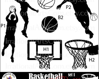 Basketball Silhouettes - 7 png digital clipart graphics of players, hoops, basketballs {Instant Download}